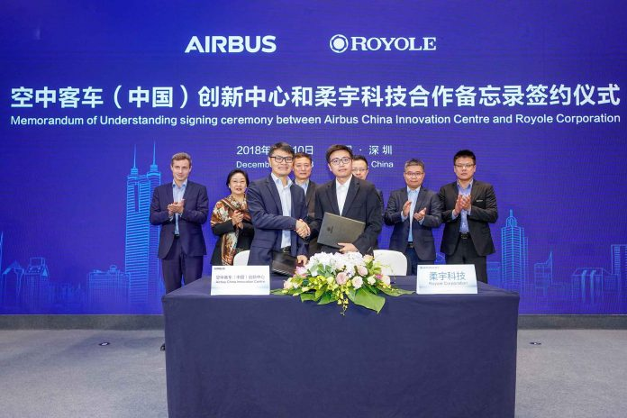 Airbus, Royole to explore future of flexible electronics in aircraft