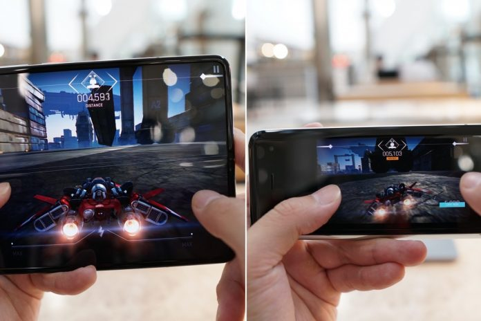 Any app can display and run on the small or larger screen of the Samsung Galaxy Fold, including games. The foldable handset may be one of the biggest game changers in smartphone design history. Photo: Ben Sin